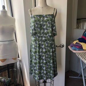 Tropical print pop over dress